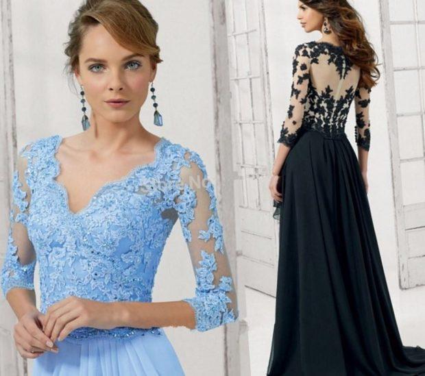 платья на выпускной 9 класс красивые: кружевные голубое темное