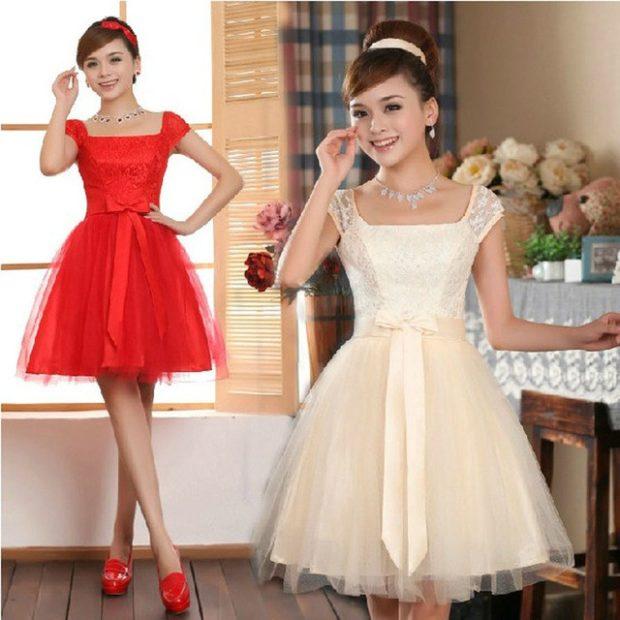 платья на выпускной 9 класс красивые: кружевные красное светлое