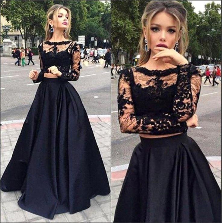 платья на выпускной 9 класс самые красивые: черное  длинное кружевное