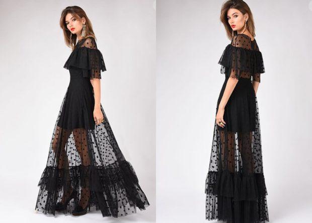 платья на выпускной 9 класс самые красивые: черное прозрачное