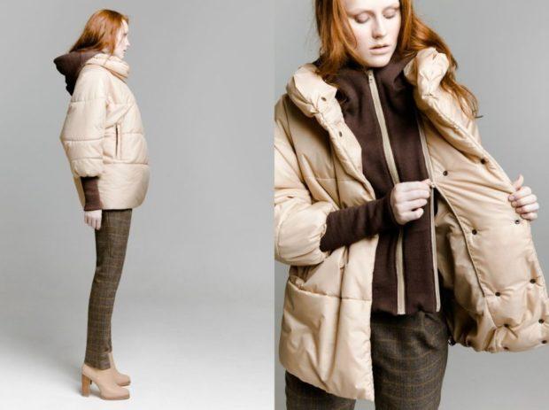 Пуховики с чем носить: короткий светлый под брюки ботинки на каблуке