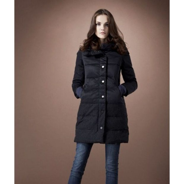 Пуховики с чем носить: средняя длинна под джинсы