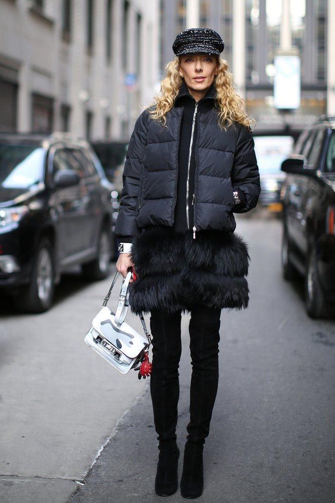 Пуховики с чем носить: средняя длинна черный под штаны