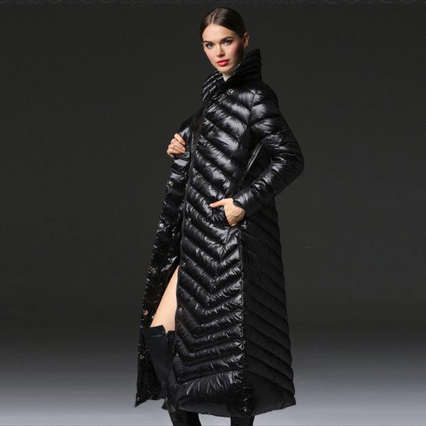 Пуховики с чем носить: длинный под юбку-платье