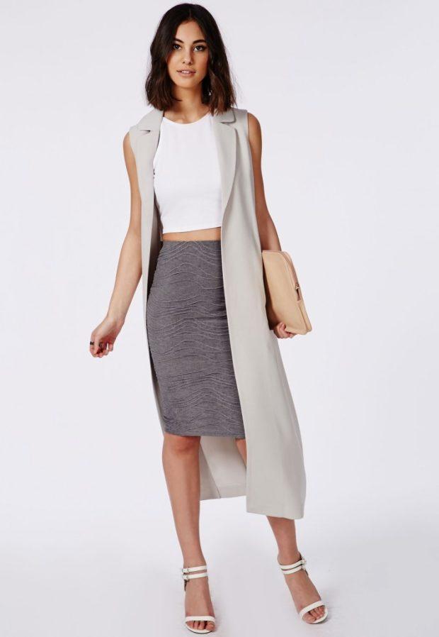 с чем носить серую юбку: миди карандаш под длинный жакет