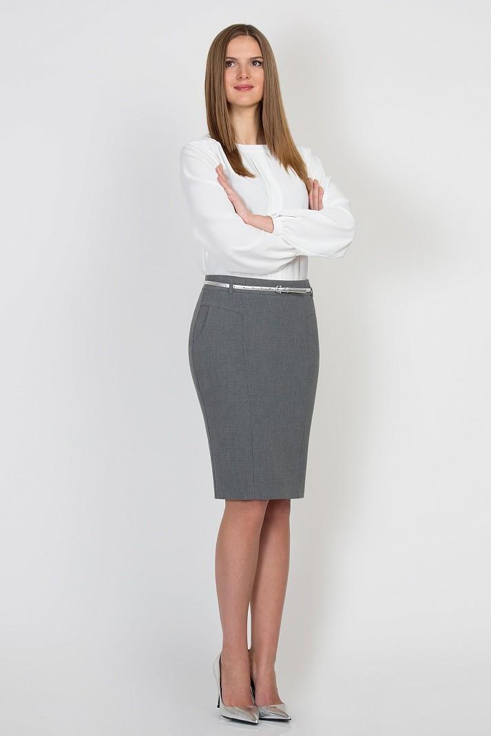 с чем носить серую юбку: серая миди под блузку