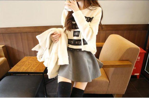 с чем носить серую юбку: серая юбка под кофту белую