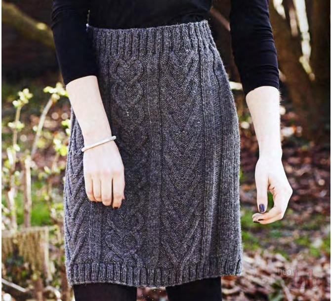 с чем носить серую юбку: вязанная юбка под кофту черную