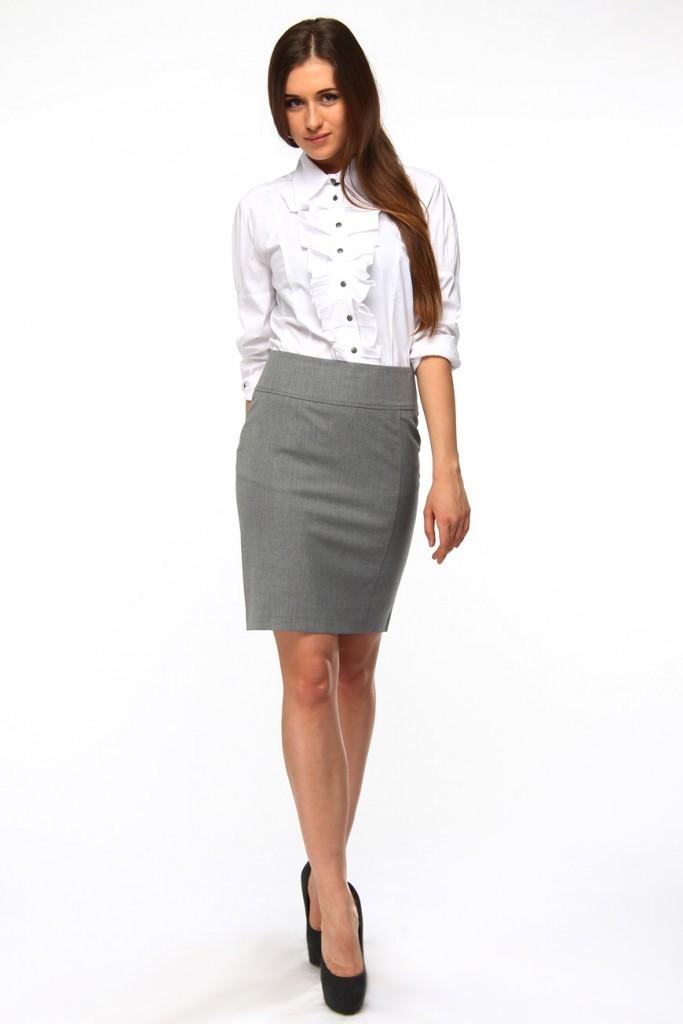 с чем носить серую юбку: классическая под белую блузку