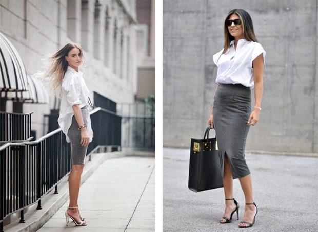 с чем носить серую юбку: классическая под блузку белую