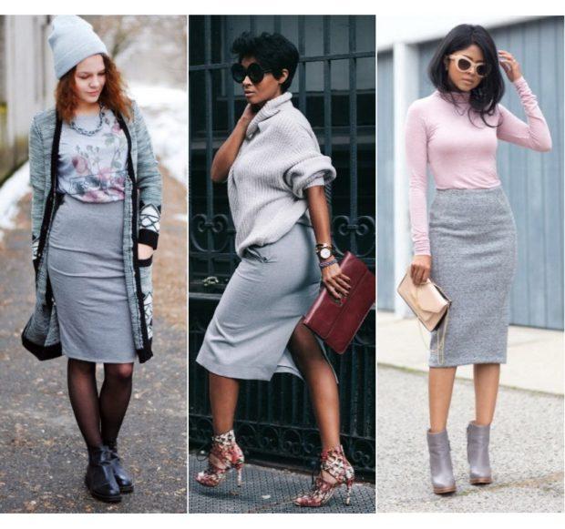 с чем носить серую юбку: классическая под кофту серую розовую