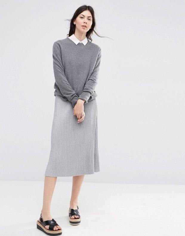 с чем носить серую юбку фото