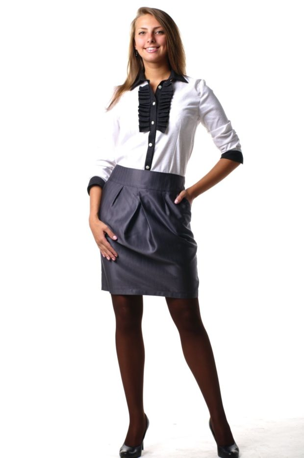 серая юбка с чем носить: тюльпан под рубашку белую