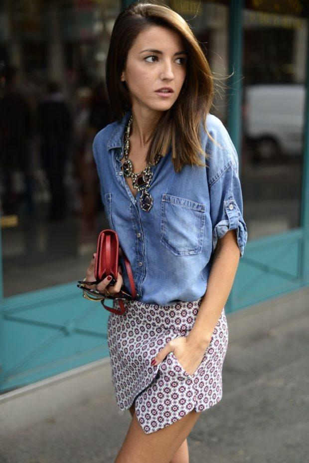 серая юбка с чем носить: тюльпан под рубашку джинсовую