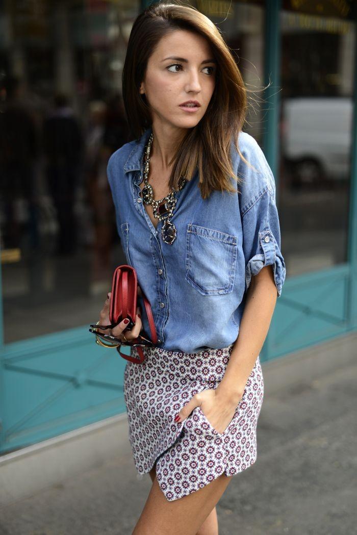 серая юбка с чем носить: юбка тюльпан под рубашку джинсовую