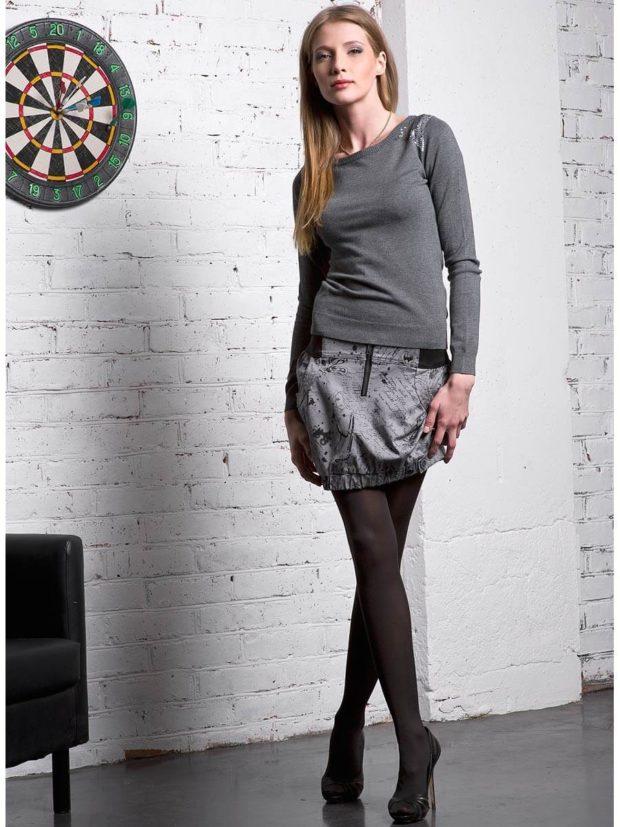 серая юбка с чем носить: тюльпан под кофту