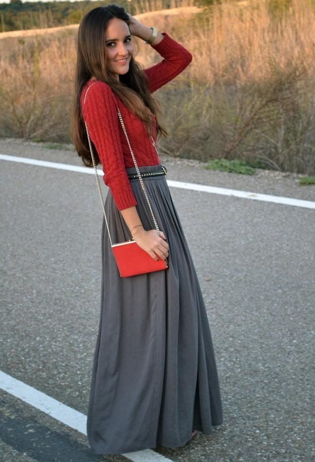 серая юбка с чем носить: в пол под красную кофту