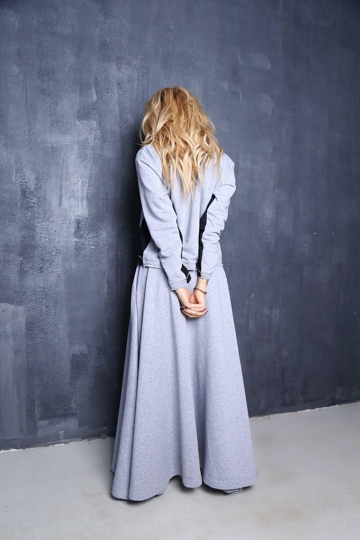 серая юбка с чем носить: в пол под кофту