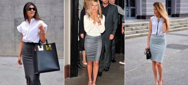 серая юбка с чем носить: карандаш под блузку белую шифоновую