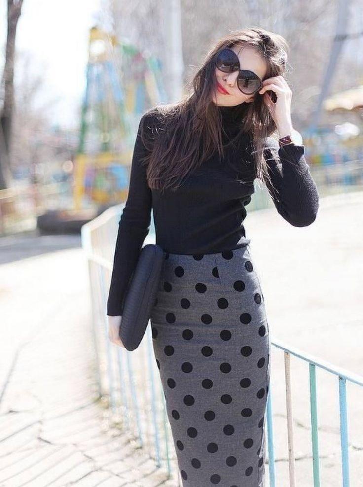 серая юбка с чем носить: карандаш под гольф черный