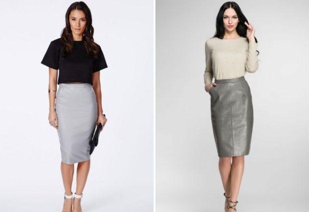 серая юбка с чем носить: юбка карандаш под кофту черную рукав короткий под светлую кофту