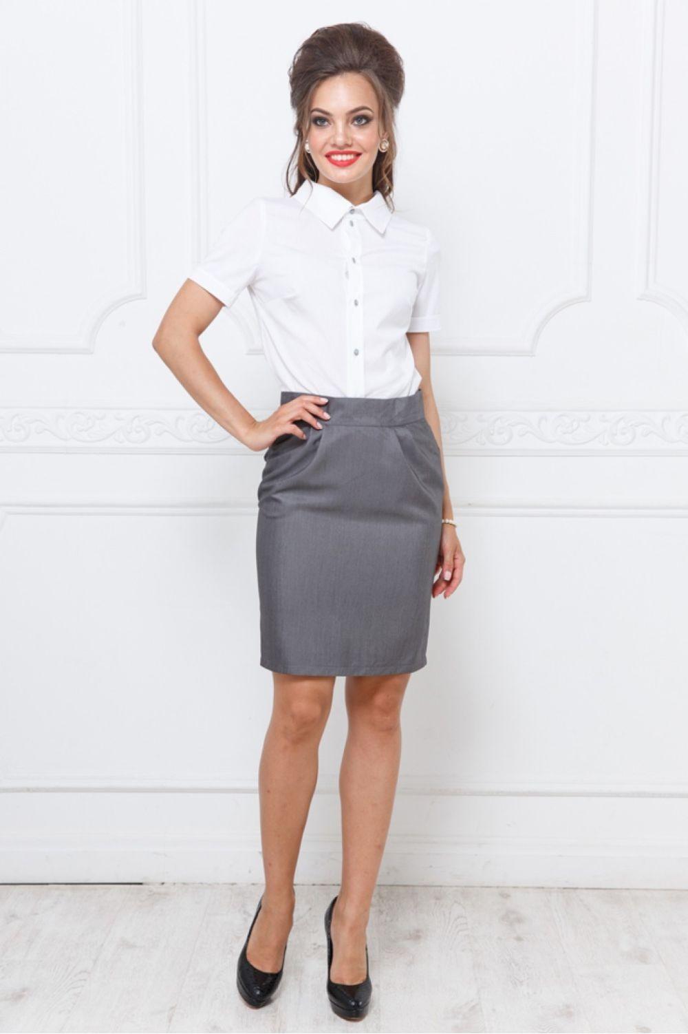 серая юбка с чем носить: карандаш под блузку белую
