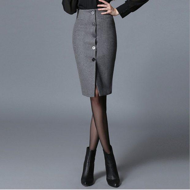 серая юбка с чем носить: юбка карандаш под батильоны