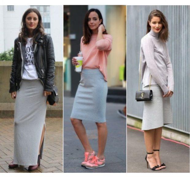 с чем носить серую юбку: юбка серая в пол миди под кожаную под кофточку розовую серую