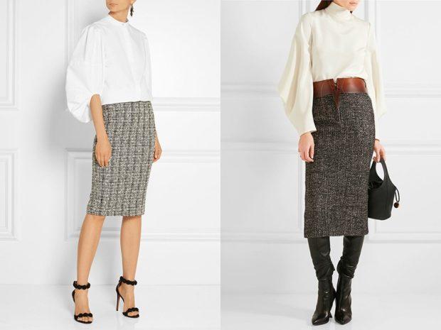 с чем носить серую юбку: шерстяная под блузку белую по колено ниже колена