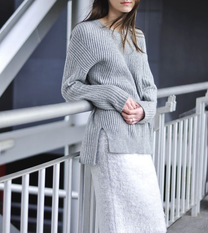 серая юбка с чем носить: шерстяная под кофту в тон