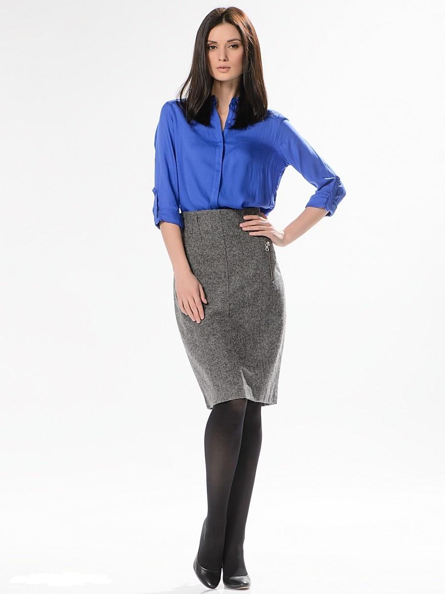 с чем носить серую юбку: шерстяная под блузку синюю