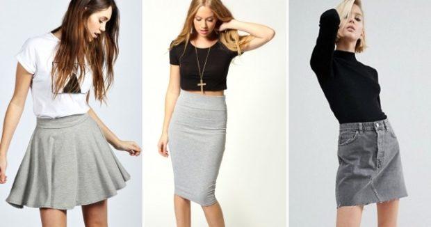с чем носить серую юбку:  короткая под  футболку миди под топ черный джинсовая под гольф черный