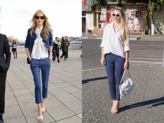 с чем носят яркие синие брюки: под блузку белую