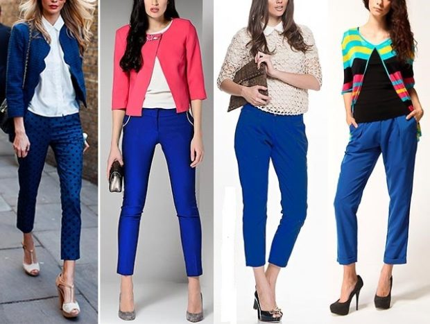 с чем носить яркие синие брюки: короткие под синий красный яркий цвет