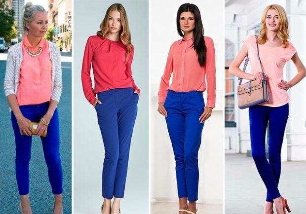 с чем носить яркие синие брюки женщине