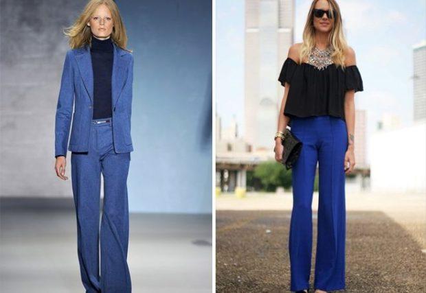С чем носить ярко синие брюки: клеш под пиджак в тон под блузку черную и аксессуар