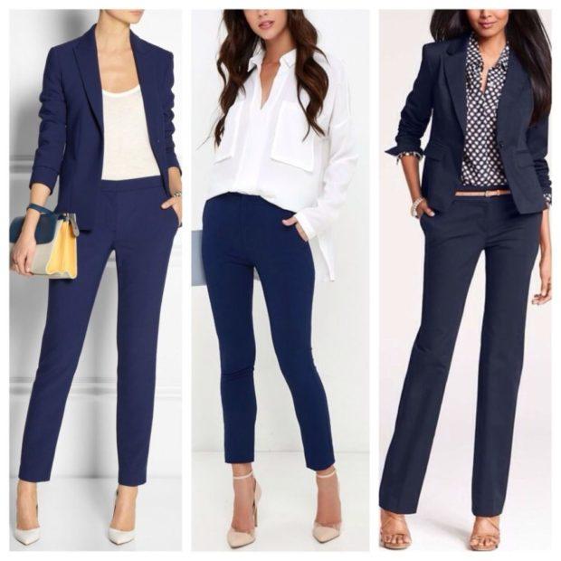 С чем носят ярко синие брюки: классические под пиджак блузку
