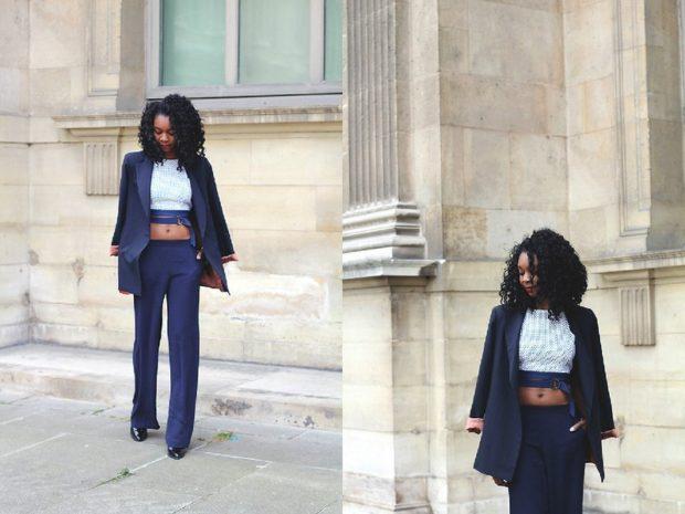 С чем носят ярко синие брюки: классические под топ белый пиджак в тон