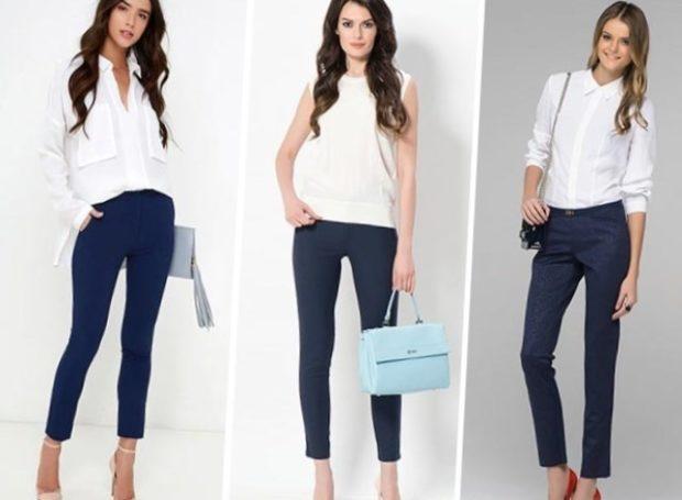 с чем носят ярко синие брюки: классические под блузки белые