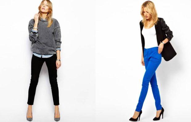 С чем носить ярко синие брюки фото: скинни под черный пиджак