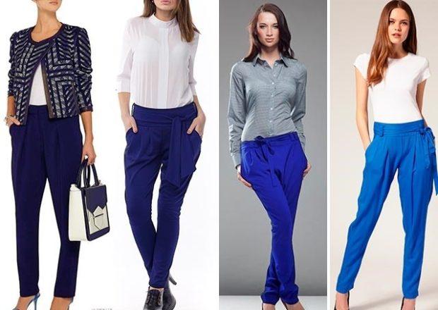 ярко синие брюки фото под пиджак блузку рубашку