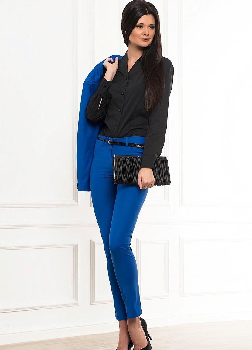 ярко синие брюки женские под блузку черную