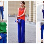 С чем носить ярко синие женские брюки