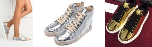 Спортивная обувь кроссовки металлическая расцветка