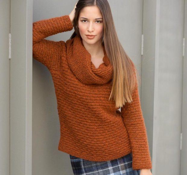 Модные женские свитера 2019-2020: вязаный оранжевого цвета