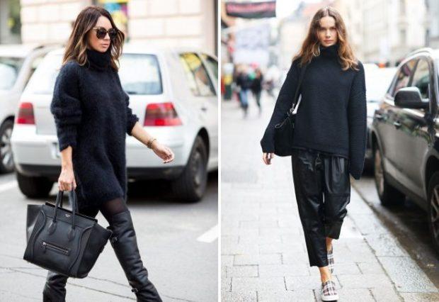 Модные женские свитера 2019-2020: вязаный черного цвета