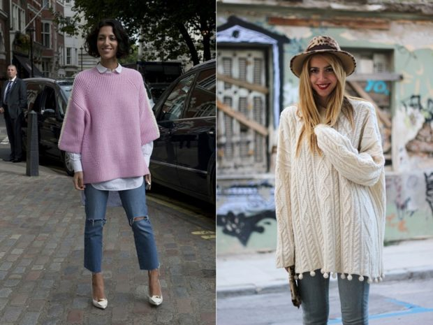 женские свитера 2019-2020: вязаный сиреневого и кремового цвета