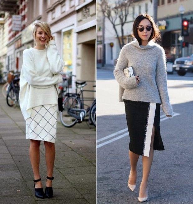 женские свитера 2019-2020: вязаный белого и серого цвета