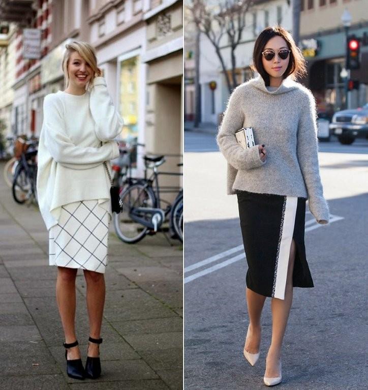 Модные свитера 2018 женские:вязаный свитер белого и серого цвета
