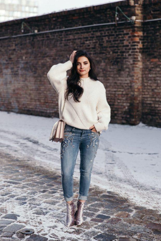 женские свитера 2019-2020: вязаный белого цвета